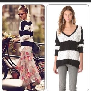 FREE PEOPLE Rugby Sweater SONGBIRD Striped Oversiz